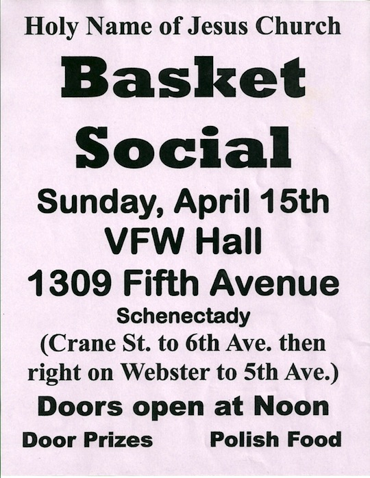 Baket social, raffle, door prize, Polish food, Schenectady, Albany, Troy
