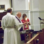 Blessing of fire and water, Bishop elect Stan with Deacon Jim and Victoria