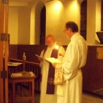Blessing of fire and water, Bishop elect Stan with Deacon Jim