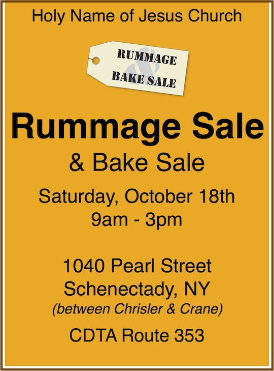 Rummage Sale Flyer - October 18, 2014